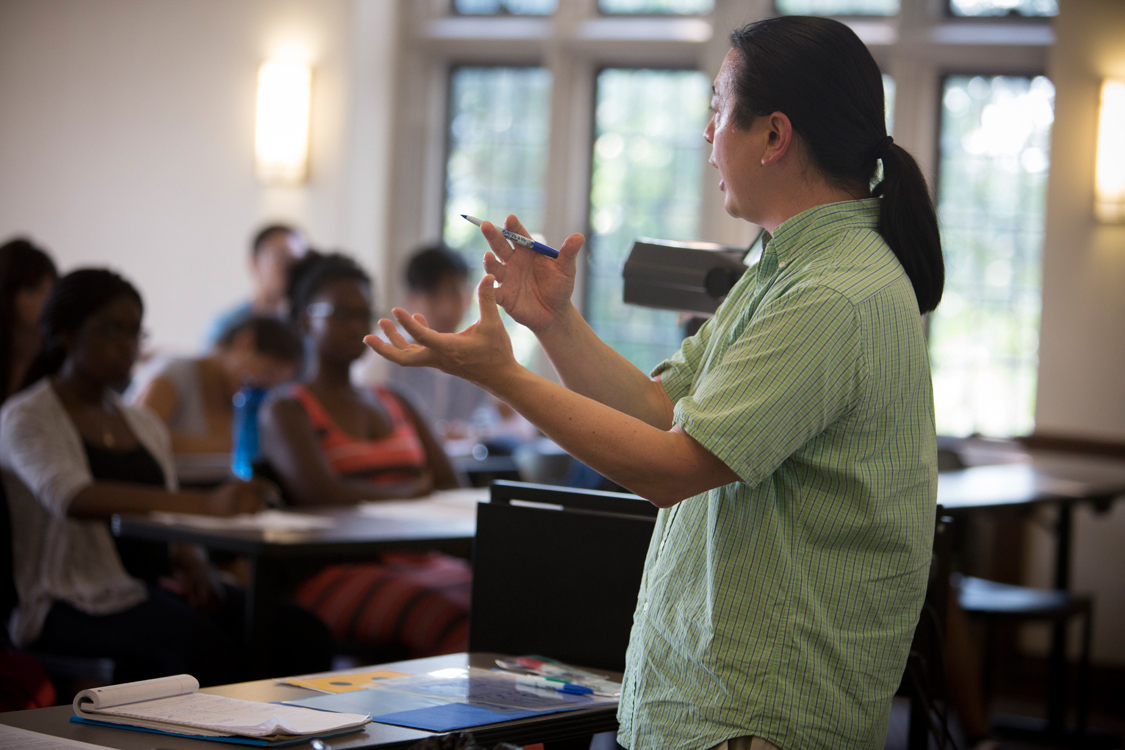 Michael Chen, lecturer at the Learning Strategies Center (LSC), teaches a 2015 study skills workshop.