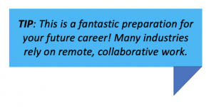 TIP: This is a fantastic preparation for your future career! Many industries rely on remote, collaborative work.